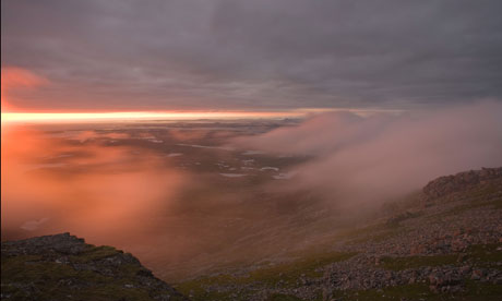 Country Diary : Layers of cloud light red from the summit of Hecla on South Uist