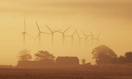 La energía eólica en Dinamarca: las turbinas de viento en Holstebro, Westjutland