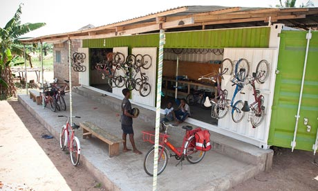 Bike blog : The front of Ezetela Workshop made of a shipping container donated by Re-Cycle in Ghana