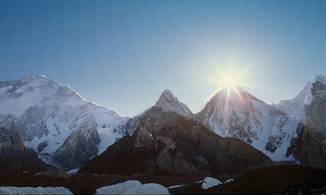 Himalayas glaciers : The Sun Breaks Over the Summit of Gasherbrum IV