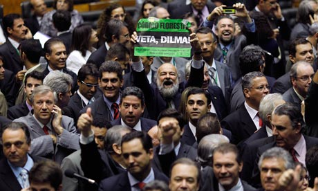 A member of congress protests against new Forest Code, Brasilia , Brazil