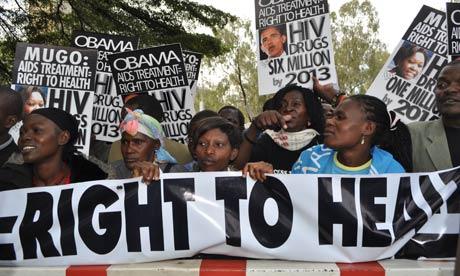 MDG : Kenyans living with HIV protest in Nairobi , Kenya