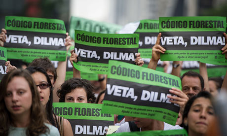 Protest demanding Brazilian President Dilma Rousseff to veto a forest code in Sao Paulo, in Brazil
