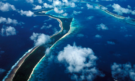 Chagos archipelo : An aerial view of Diego Garcia Islands in the Indian ocean