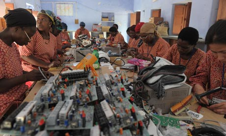 Green jobs : African women learn about circuit boards for solar lights at the Barefoot College India