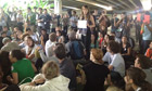 Activist protest at the conference center against the weakness of the UN Rio+20 agreement