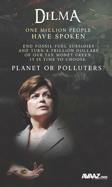 Poster for Avaaz advertisng campaign to Save Rio+20
