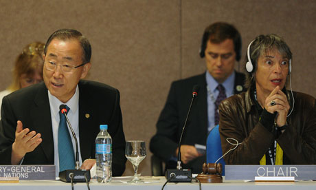 Rio+20 : UN Secretary General Ban Ki-Moon and Iara Pietricovsky
