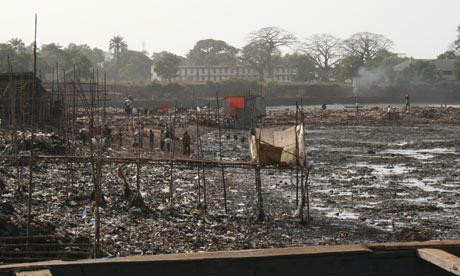 MDG : Sanitation and cholera : A common latrine in Kroo Bay Slum in Sierra Leone's capital Freetown
