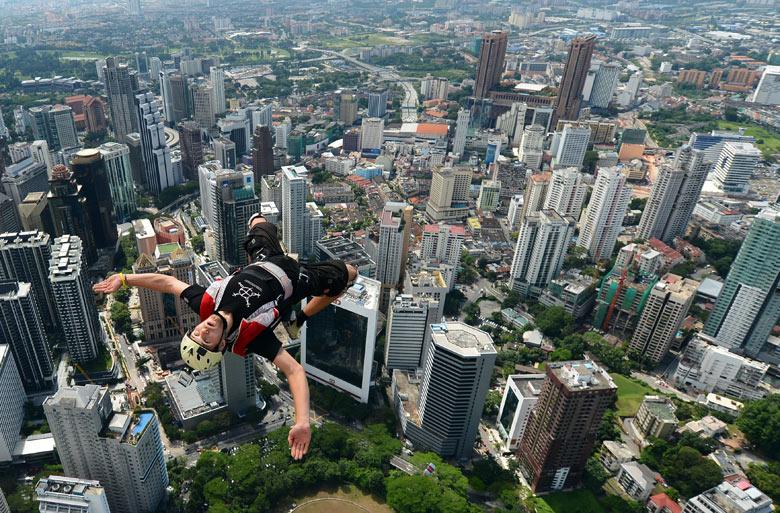Base jumper Andrei Nefedov from Kuala Lumpur Tower