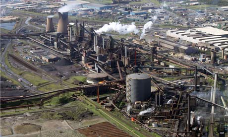 Heavy industry pollution : Aerial view of the Tata steelworks at Scunthorpe