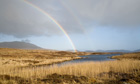 Country Diary : Double rainbow over loch near Staoinebrig, South Uist, Outer Hebrides , Scotland