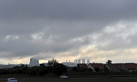 Coal power plant in South Africa : Steam billows from Kempton Park Power Station in Johannesburg