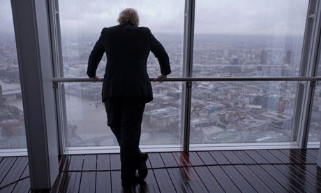London mayor Boris Johnson looking at London skyline