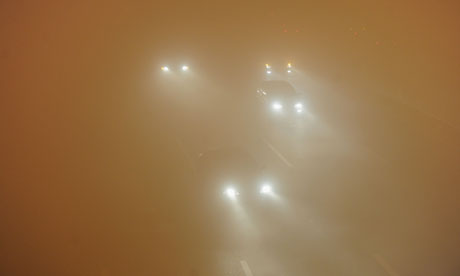 Heavy air pollution in China : heavy fog in Hefei, Anhui province