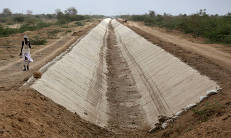 Indian rivers network project: Dried Amrapur branch canal in Gujarat during drought, India