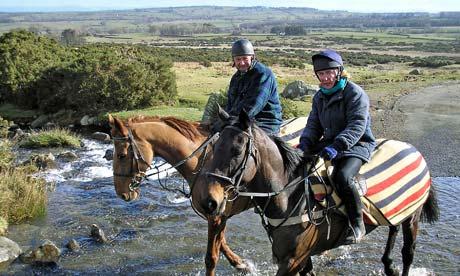 Country Diary : Two riders negotiate the Carrock Splash beneath Carrock Fell