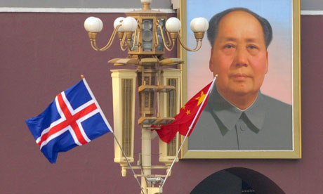 China in Arctic :  Iceland flag on Tiananmen square during visit of  Johanna Sigurdardottir