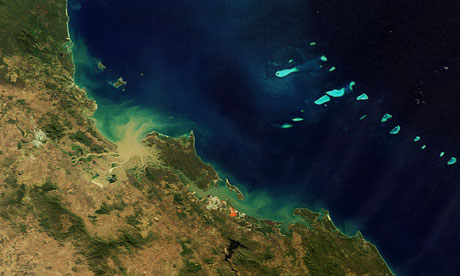 Satellite view of Great Barrier Reef, Queensland, Australia, endangerd  by mining shale oil