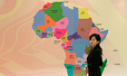 MDG : China in Africa : the map of Africa at  the Africa Development bank in Shanghai