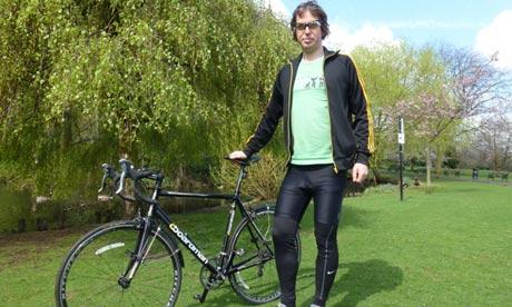 Peter Kimpton has changed his urban bike to road bike to Ride Across Britain cyclist.