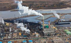 Oil sands or tar sands or, more technically, bituminous sands, refinery, Alberta province of Canada