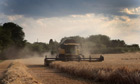 Extreme weather and farmland : British farmers harvest first winter barley in Crockenhill, Kent