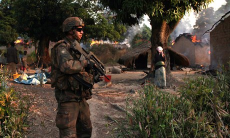 MDG : French soldier patrols in Bossangoa, Bangui, Central African Republic, CAR