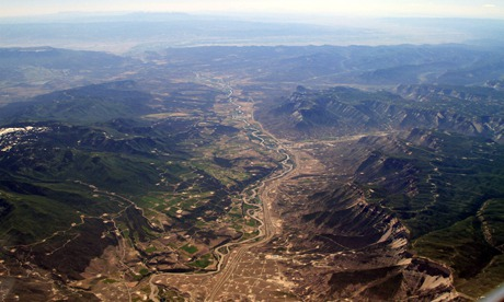 Aerial of Fracking Drill Shale Sites in Colorado