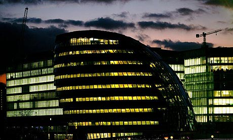 London Assembly building lit at night