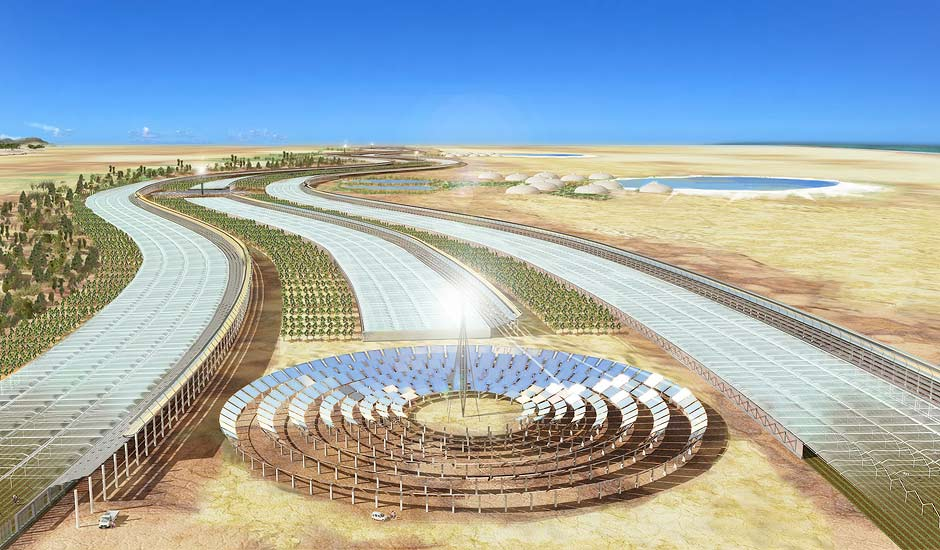 The Sahara Forest project will use seawater and solar power to grow food in greenhouses across the desert. Photograph: Exploration Architecture