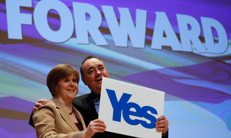 Scotland's first minister and SNP leader Alex Salmond with deputy leader Nicola Sturgeon