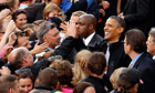President Barack Obama greets supporters after speaking at a campaign rally in Madison, Wisconsin