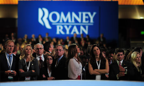 Supporters of Mitt Romney react to results on election night in Boston