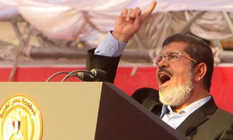Egyptian president Mohamed Morsi at Tahrir