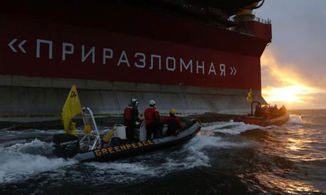 Greenpeace activists prepare to occupy Gazprom Arctic oil platform