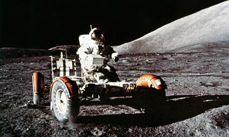 Apollo 17 astronaut Eugene Cernan with the Lunar Rover