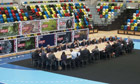 The cabinet meets at the handball arena in London's Olympic Park before the Games