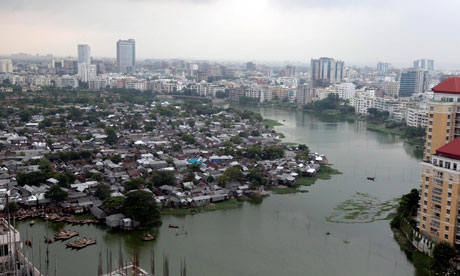 A view of Korail slum, one of Bangladesh's largest, in the capital, Dhaka
