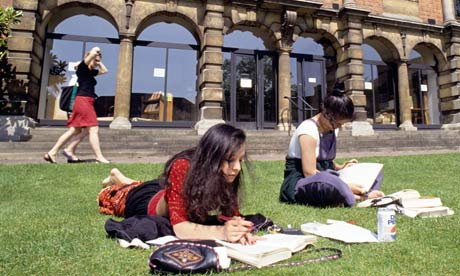 Students study in the sunshine at Oxford University