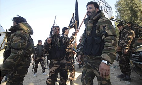 Fighters who operate under the Free Syrian Army command,