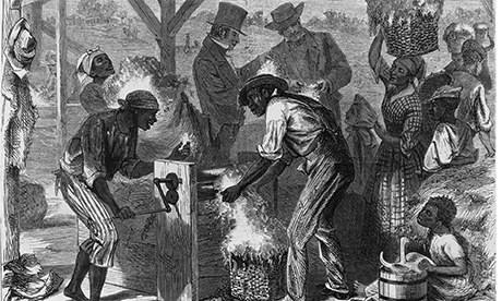 Illustration of slaves working an early cotton gin