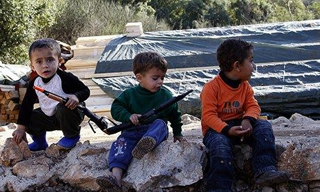 Syrian children in a refugee camp in Lebanon