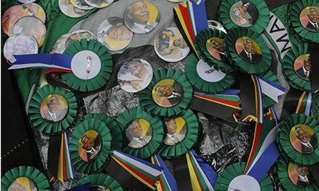 Memorabilia for sale outside Nelson Mandela's house  in Johannesburg