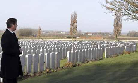 David Cameron visits the graves of first world war soldiers in Zonnebeke, Belgium. 'At least we can see that the outcome mattered. Europe would have been different if Germany had won in 1918.' Photograph: Virginia Mayo/AP