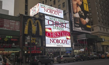 A billboard sponsored by the American Atheists organisation in New York