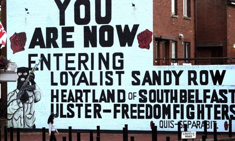 A loyalist mural in Belfast, Northern Ireland