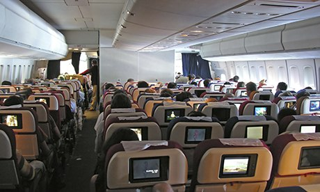 plane interior with chairs