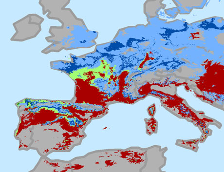 Europe change in areas suitable for growing wine grapes through 2050