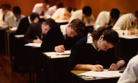 Boys and girls sitting GCSE A Level Exams
